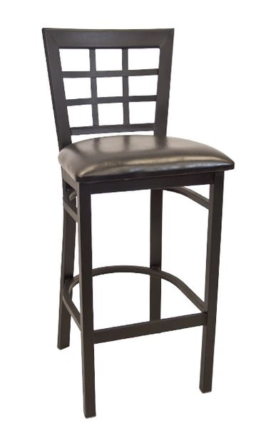 Metal Window Pane Back Restaurant Dining Bar Stool Black Frame Finish Black Vinyl Seat