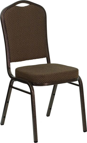Metal Banquet Stack Chair Coppervein Frame Finish Brown Fabric Seat and Back