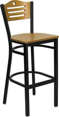 Tri-Slat Circle Restaurant Bar Stool Back Metal Frame Natural Seat and Back