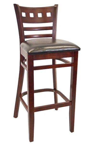 06. Wood American School House Back Restaurant Bar Stool Dark Mahogany Finish Black Vinyl Padded Seat