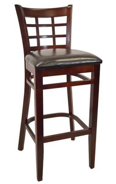 Wood Window Pane Back Restaurant Bar Stool Dark Mahogany Finish Black Vinyl Seat