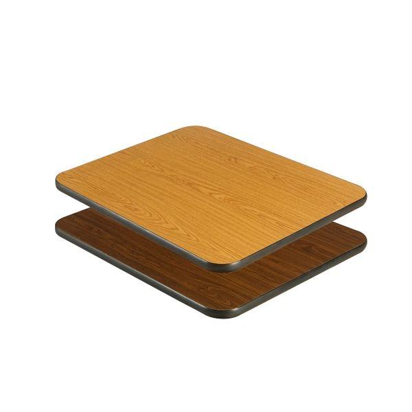"Laminate Reversible Table Tops with Black Vinyl T-Mold Edge 24"" x 24"" Oak or Walnut Finish"