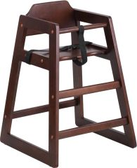 98. Wood Restaurant Stackable High-Chair Walnut Finish
