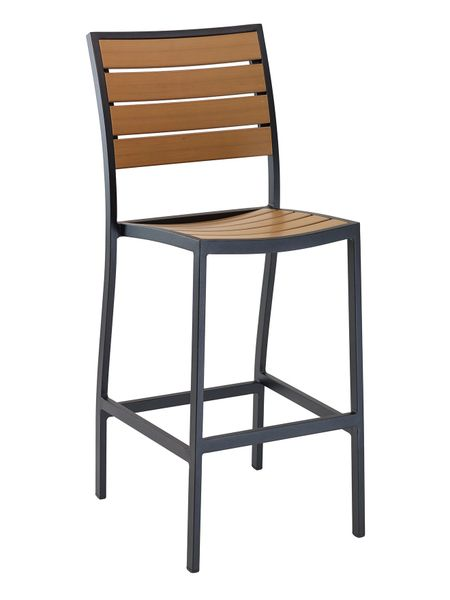 Outdoor Restaurant Cafe Bar Stool Black or Silver Finish Synthetic Teak