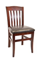 09. Wood Bulldog Back Restaurant Dining Chair