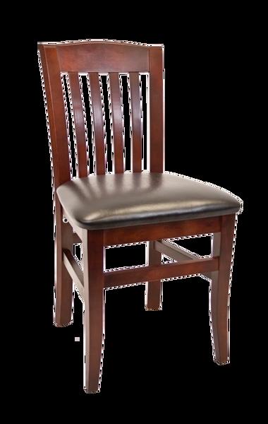 Wood bulldog back restaurant dining chair dark mahogany