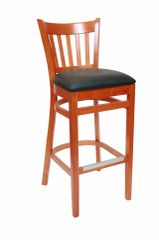 02. Wood Vertical Back Restaurant Dining Bar Stool