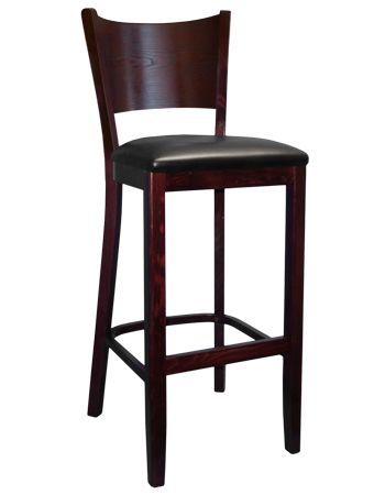 Wood Full Back Restaurant Bar Stool Dark Mahogany Finish Black Vinyl Padded Seat
