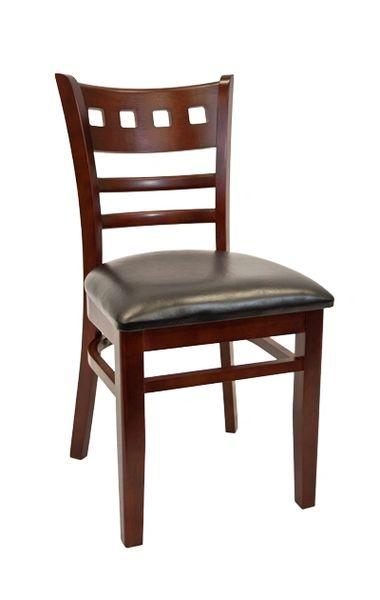 07. Wood American School House Back Restaurant Dining Chair Dark Mahogany Finish Black Vinyl Padded Seat