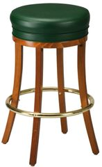 Backless Wood Swivel Bar Stool Padded Seat