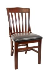 18. Wood School House Back Restaurant Dining Chair Dark Mahogany Finish Black Vinyl Padded Seat