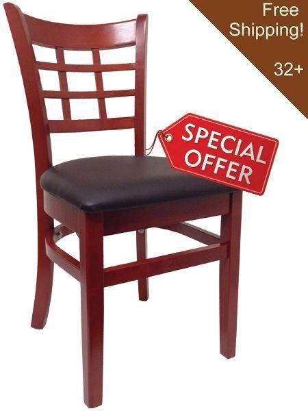 03. Wood Window Pane Restaurant Dining Chair Mahogany Finish Black Vinyl Seat