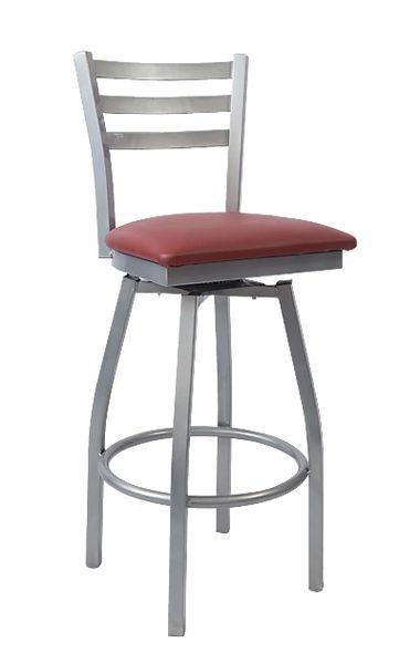 MSBS-GREY-01 Ladderback Swivel Metal Restaurant Cafe Bar Stool Grey Frame