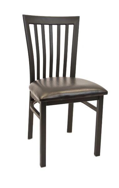 Metal Elongated Back Restaurant Dining Chair Black Frame Finish Black Vinyl Seat