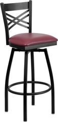 Swivel Metal X-Back Restaurant Dining Bar Stool Black Frame Finish Wood or Vinyl Padded Seat