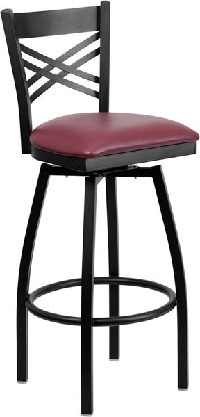 Swivel Metal X-Back Restaurant Dining Bar Stool Black Frame Finish Wood or Vinyl Padded Seat
