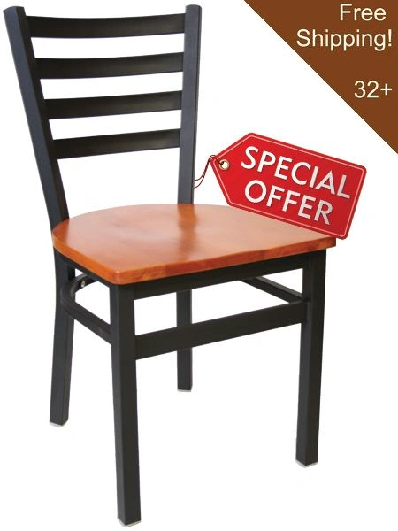 01. Metal Ladderback Restaurant Dining Chair Black Frame Finish Solid Wood Seat part of Wholesale Restaurant Furniture