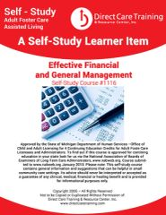 Adult Foster Care Course No. 1116 - Effective Financial and General Management (4 CEUs)