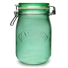 1L Kilner Flip Top Green Glass Jar