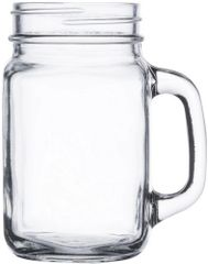 16oz Mason Jar with Handle 16 ounce clear glass - Case of 12