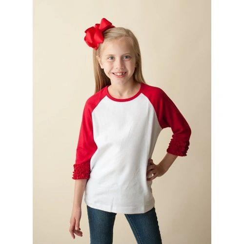 f544470ffee Monogrammed Appliqué Girls Triple Ruffle 3 4 Sleeve Raglan Shirt ...