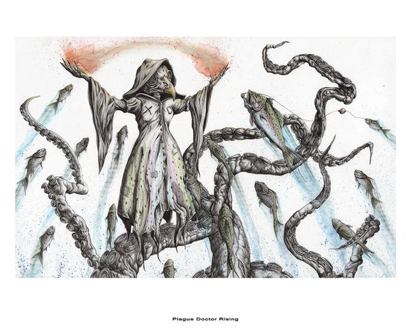 the rising plague doctor octopus tentacles rainbow trout art