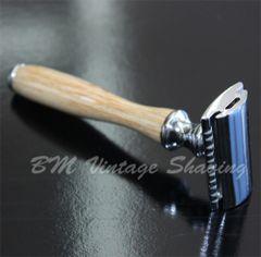 Double Edge Safety Razor - Wooden Handle - Beige