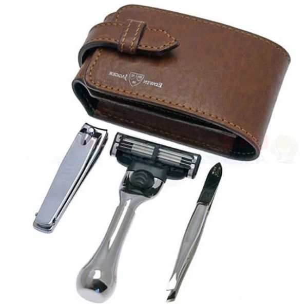 934e1272fe Edwin Jagger travel shaving set in a Black leather case