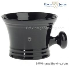 Edwin Jagger Black Porcelain Shaving Bowl with handle