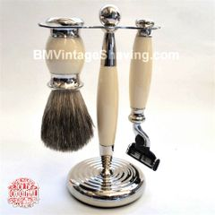 Vulfix Edwardian Style Ivory Shaving Brush and Razor Set