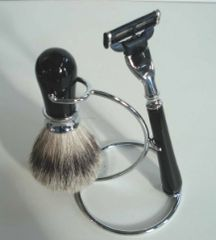Shaving Set - Swirl Base Stand Black