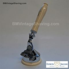 Edwin Jagger Faux Ivory Mach3 Razor with Cone Stand