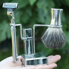 Shaving Set –Chrome Square Base Stand - 4pc
