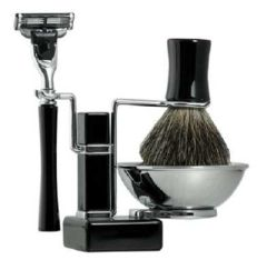 Shaving Set – Ebony Square Base Stand - 4pc