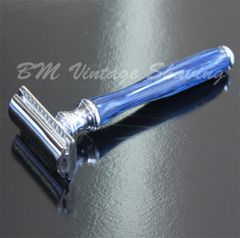 Double Edge Safety Razor - Wooden Handle - Blue