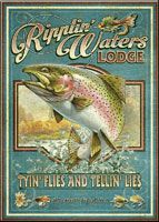 Vintage Advertising Large Tin Sign: Ripplin' Waters Lodge