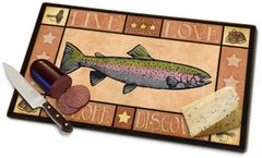 Rainbow Trout Tempered Glass Cutting Board