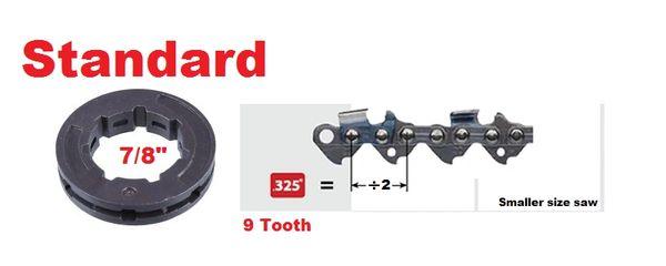 """RIM SPROCKET .325"""" pitch 9-tooth, standard 7/8"""" center 7 spline"""