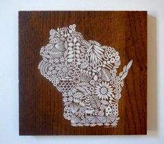 Screen print of Wisconsin onto Reclaimed, Repurposed Wood; Ready to Hang Original art