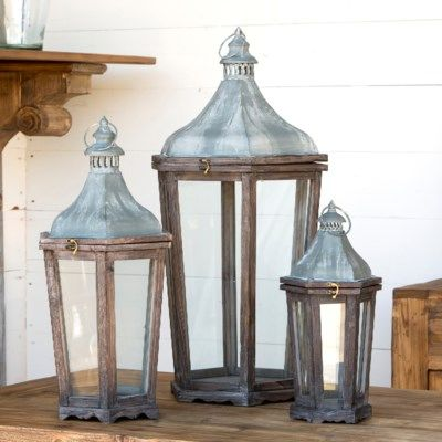 Wood & Galvanized Metal Lanterns Set of 3