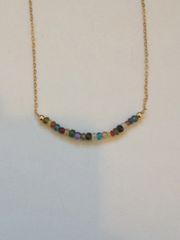Linear Gold Gemstone Necklace