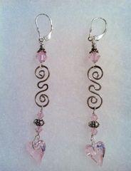 Pink Crystal Heart Swirl Earrings