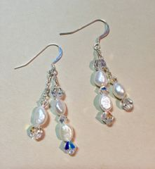 Swingy Pearl and Crystal Earrings