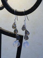 Labradorite & Rainbow Moonstone Earrings