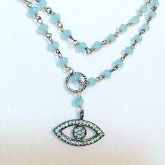 Chalcedony Protective Eye Necklace