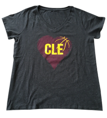 I Heart CLE Basketball Ladies Curvy V-neck