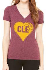 I Heart CLE Basketball Ladies V-neck