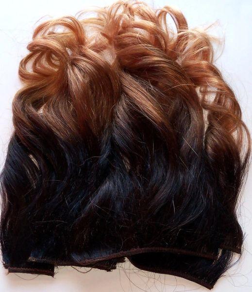 18 Inch Ombre Dark Brown Black Brown Auburn Blonde Clip Fade Clip In