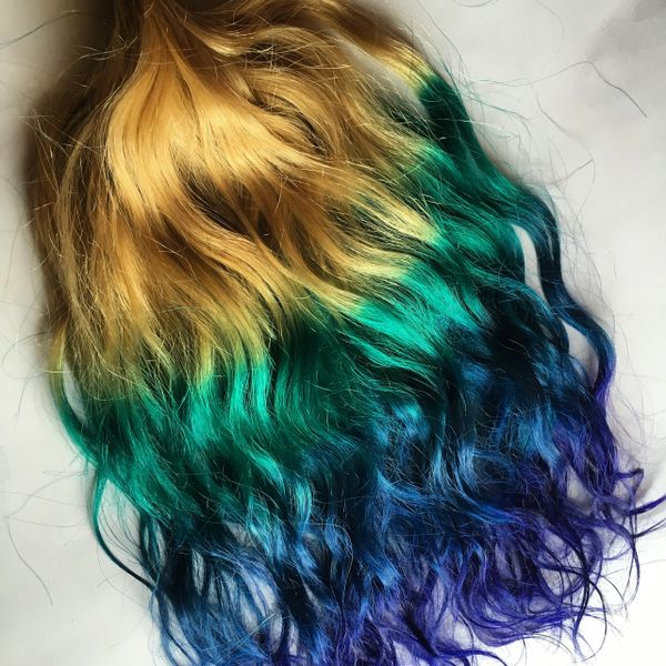 18 Inch Rainbow Ombre Blonde Teal Green Blue Purple Clip In 100