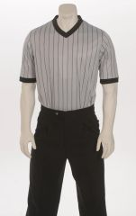 """ELITE"" Interlock Performance Gray w/Black Pinstripe V-Neck Shirt"